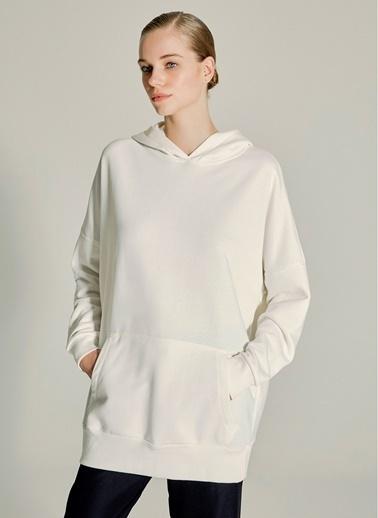 NGSTYLE Oversize Kapüşonlu Sweatshirt Beyaz